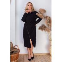 Черное трикотажное платье с асимметричной молнией