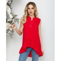 Малиновая асимметричная блуза без рукавов с воланом