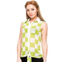 Шифоновая блузка без рукавов в салатовую и белую шахматную клетку