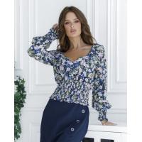 Цветочная укороченная блуза из штапеля