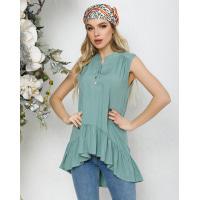 Мятная асимметричная блуза без рукавов с воланом