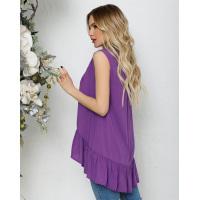 Фиолетовая асимметричная блуза без рукавов с воланом