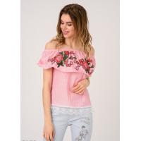 Розовая в полоску открытая блуза с кружевным краем и цветочной нашивкой