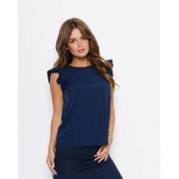 Синяя блуза с рюшами на проймах