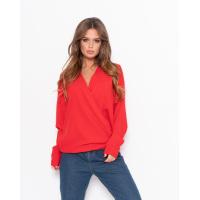 Красная шифоновая блуза с запахом