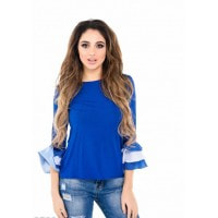 Ярко-синяя блуза с рукавами-воланами в испанском стиле