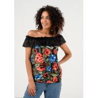 Темно-серая блуза в цветах с черным кружевным отворотом
