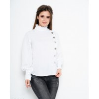 Белая блуза из софта с рюшами на воротнике