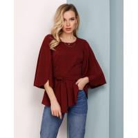 Бордовая блуза с баской и оригинальными рукавами
