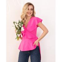 Малиновая блуза без рукавов на запах
