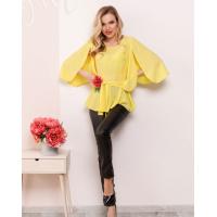 Желтая блуза с баской и оригинальными рукавами