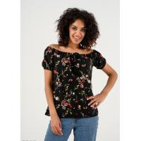 Черная блузка с цветочным принтом, широким воротом и короткими рукавами