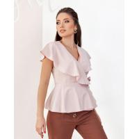 Розовая блуза без рукавов на запах