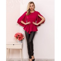 Малиновая блуза с баской и оригинальными рукавами