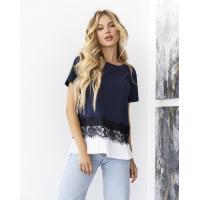 Темно-синяя трикотажная блуза с вставками