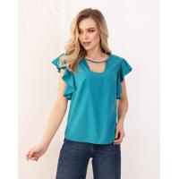 Бирюзовая блуза с вырезами и воланами