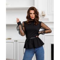 Черная блуза с прозрачными рукавами и баской