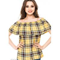 Легкая блузка с отворотом в желтую клетку