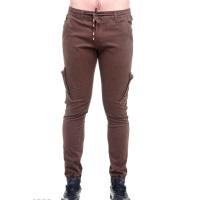 Темно-коричневые мужские брюки с боковыми и задними накладными карманами
