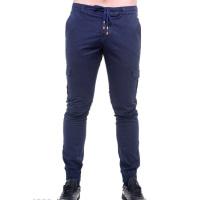 Синие мужские брюки со шнурком в поясе
