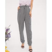 Черно-белые полосатые брюки на резинке
