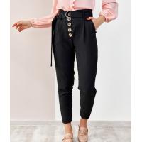 Черные креповые брюки высокой посадки