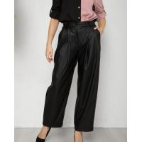 Черные кожаные свободные брюки