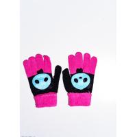 Черно-малиновые шерстяные однослойные перчатки с объемной аппликацией
