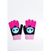 Черно-розовые шерстяные однослойные перчатки с объемной аппликацией