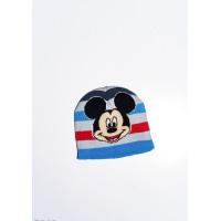 Яркая демисезонная шапка с полосками и принтом