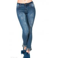 Синие джинсы скинни с потертостями бахромой по низу