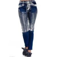 Синие классические джинсы покрытые до колен серебристой краской