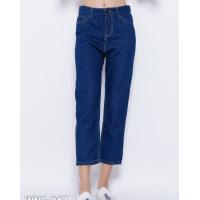 Синие прямые укороченные джинсы