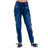 Синие джинсы с клетчатыми звездами по бокам