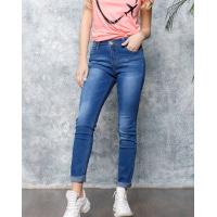 Синие потертые джинсы высокой посадки