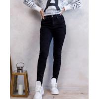 Черные потертые джинсы скинни на флисе