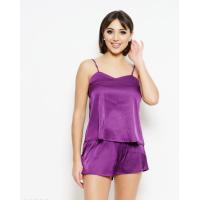 Фиолетовая атласная пижама с шортиками и майкой