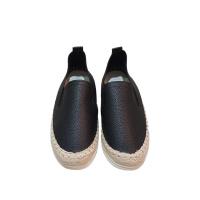 Черные эспадлильи из фактурной эко-кожи с пеньковым декором