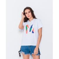 Эластичная белая трикотажная футболка с вышивкой