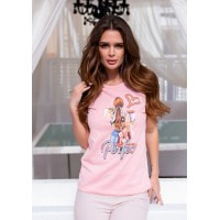 Розовая хлопковая футболка с блестящей надписью