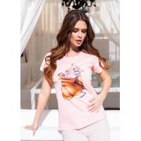 Розовая трикотажная футболка с кошачьим принтом