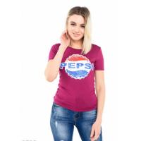 Фиолетовая футболка из вискозы с надписью Pepsi