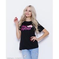 Черная трикотажная футболка с принтом
