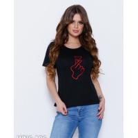 Черная эластичная футболка с красной вышивкой