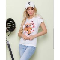 Белая футболка с цветным медвежонком