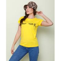 Желтая хлопковая футболка с небольшим принтом