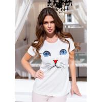 Серая трикотажная футболка с кошачьими глазками