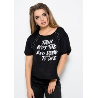 Трикотажная футболка черного цвета с принтом и шнуровкой на груди