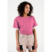 Розовая футболка с корсетной шнуровкой на спине