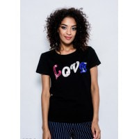 Черная летняя трикотажная футболка с нашивками LOVE в пайетках, бусинах и стразах
